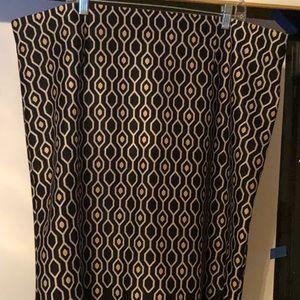 3X Roz & Ali pencil skirt bl/gld honeycomb pattern